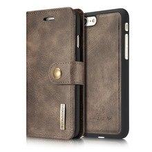 Marca original de luxo caso couro da aleta para apple iphone 5 se 6 7 8 plus x xs 11 12 pro max xr removível capa traseira retro carteira