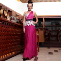 free shipping 2014 new hot seller custom One shoulder buddhistan quality formal lace appliques elegant red evening gown hot pink