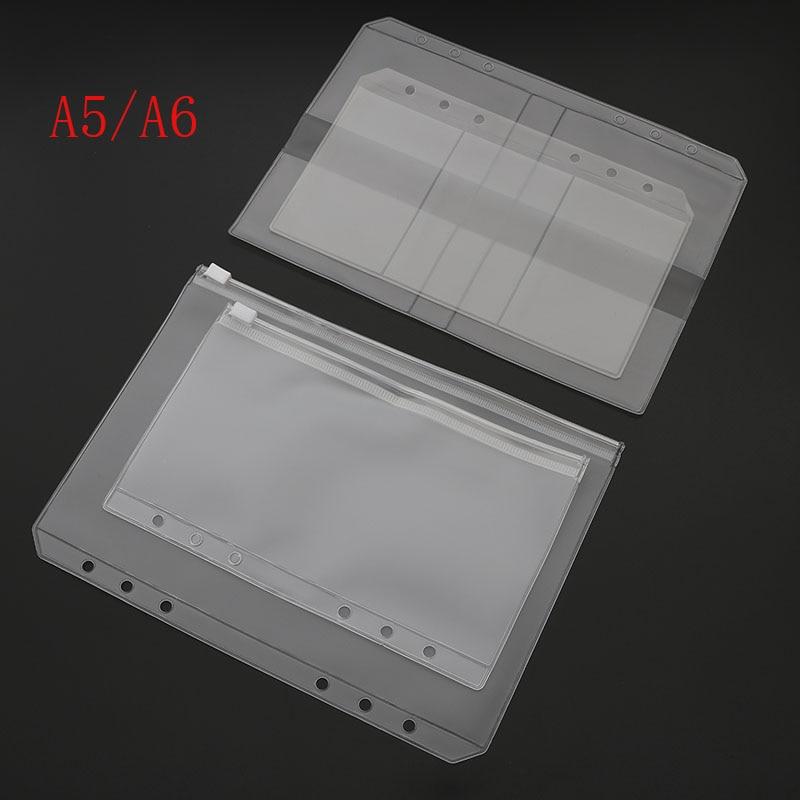 A5/A6 PVC Binder Folder Holder Zipper Low Profile Style Spiral Plan Bag Storage File Card Pack Free Shipping