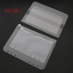 A5/A6 PVC Binder Folder Holder Zipper Low Profile Style Spiral Plan Bag Storage File Card Pack Free Shipping(China)