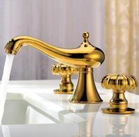 Полный три отверстия бассейна кран горячей и холодной медь и золото ванная комната счетчик бассейна натуральная Европейский горячая распр