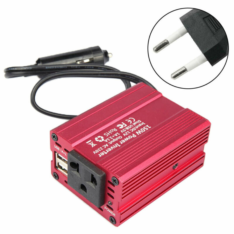 EU/US Dual USB Ports 150W 3.1A Dual USB DC 12V To AC 110V/220V Car Power Inverter Converter Adapter Car Power Inverter Charger