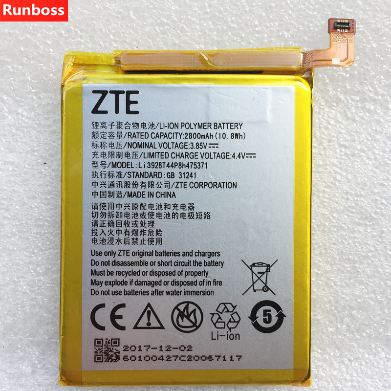 Original 2800mAh Li3928T44P8h475371 Battery For <font><b>ZTE</b></font> Blade A1 C880 C880A <font><b>C880S</b></font> AXON Mini B2015 B2016 Xiaoxian3 Cell Phone Battery image