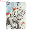 Hot-sale MOSUNX Elephant Pattern Painted Stand Leather Flip Case Cover For iPad Air 2 Gifts