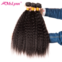 3 Bundle Deals Kinky Straight Hair Brazilian Hair Weave Bundles Human Hair Malynn Non Remy Hair