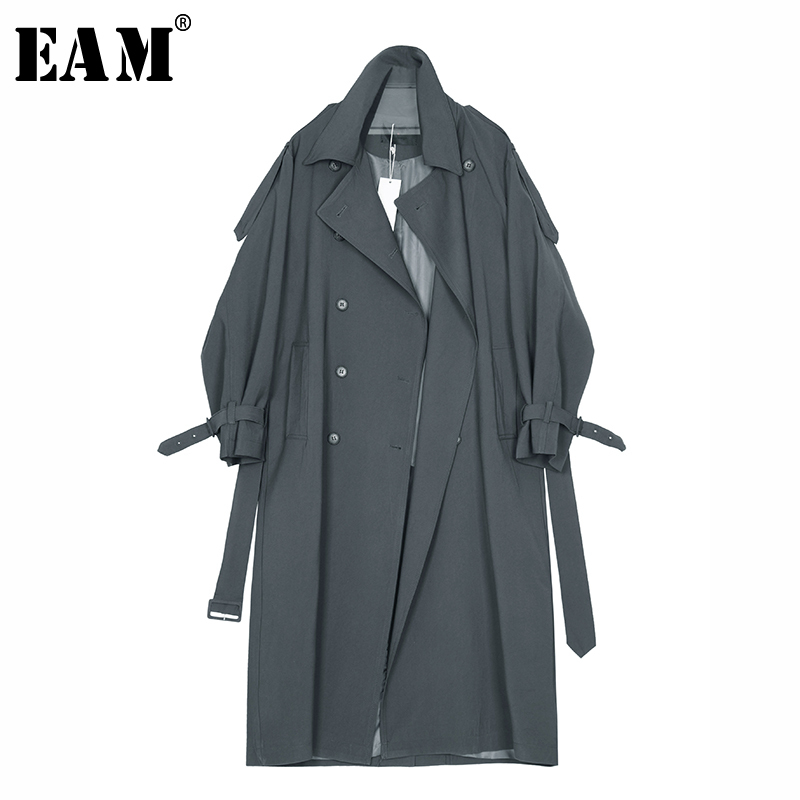 [EAM] 2019 Spring Winter Woman Solid Color Long Sleeve Turn-down Collar Double Breasted Long Loose   Trench   Coat All Match LE570