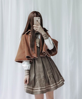 Lolita Dress Cape Vintage Preppy Chic Pleated Skirt Shirt Buttons Tie Academic Style Kawaii Girls Sweet Cute Bear JK Uniform