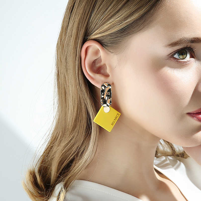 New Fashion Yellow Color Large Clip On Earrings For Summer Wearing Jewelry Geometric Shape Design Party Bijoux Accessories Gift