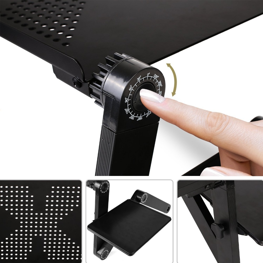 Folding Portable Laptop Desk Ergonomic Aluminum Bed Laptop Stand PC Table Notebook Table Desk Stand With Mouse Pad Drop Shipping