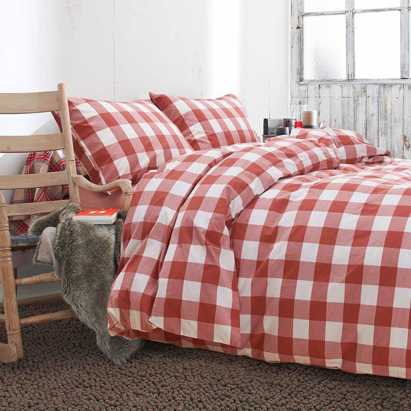 100 Cotton Plaid Blue Bedding Sets 4pcs Queen King Red