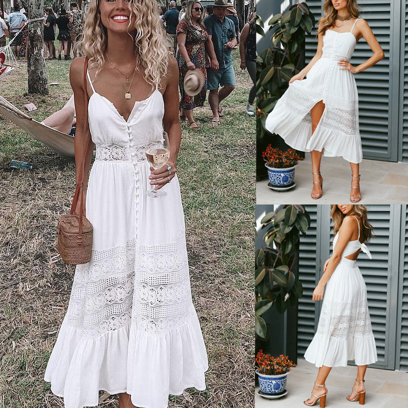 ff39500e53a 2018 Summer New Style Fashion Women Holiday Strappy Button Lace Ladies Summer  Beach Long Swing Sun Dress