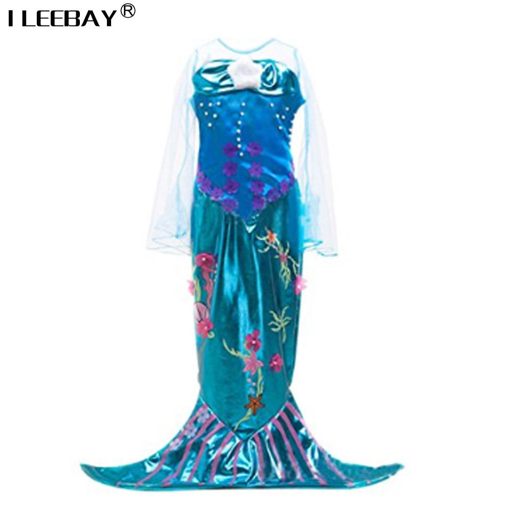 Kids Girls Show Dresses Children Baby Little Mermaid Fancy Clothes Princess Ariel Cosplay Halloween/Christmas Girl Party Costume 4pcs gothic halloween artificial devil vampire teeth cosplay prop for fancy ball party show