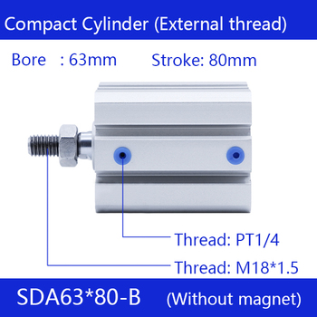 SDA63*80-B, 63mm Bore 80mm Stroke External thread Compact Air Cylinders  Dual Action Air Pneumatic Cylinder