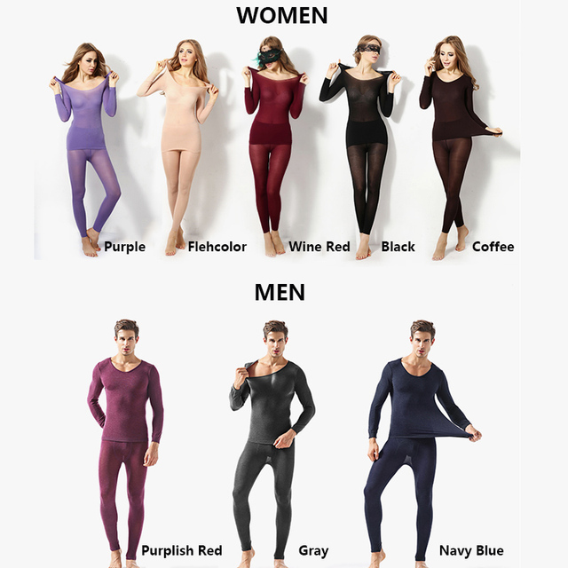Winter 37 Degree Constant Temperature Women Long Johns Super Elastic Couples Ultrathin Thermal Underwear Sets Seamless Body Suit