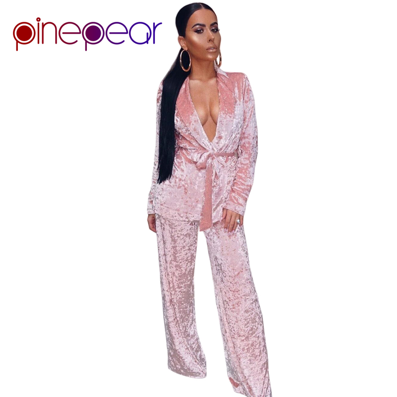 PinePear 2019 Autumn Winter Warm Thicken Velvet   Pajamas     Set   Women Loose Nightgown Tracksuit 2 Two Piece Suit Sleepwear Femme