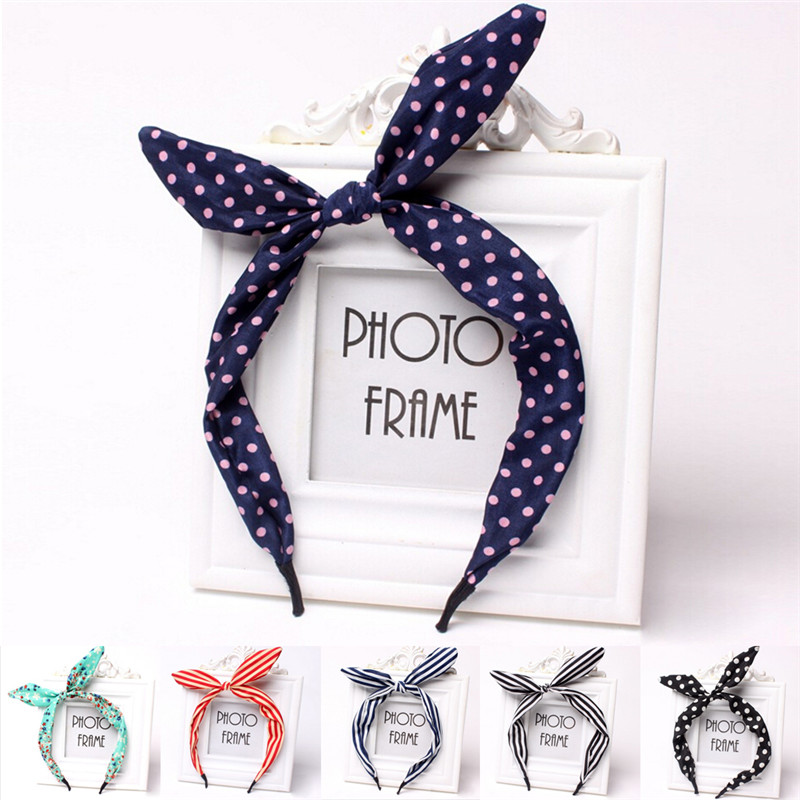 1Pc Metal Wire Scarf Headband Hair Band Accessories Cute Leopard Dots lip print flower Bunny Rabbit Ear Ribbon   Headwear   Hairband