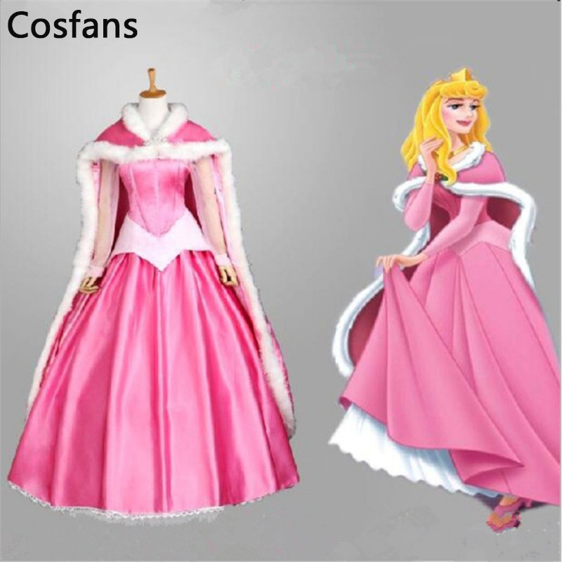 COSFANS Film Sleeping Beauty Princesse Aurora De Luxe Fantaisie Adulte Robe Cosplay Costume Halloween De Noël Femme Manteau Robe Ensemble