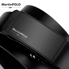 MartinPOLO Men Automatic Toothless Alloy Buckle Belt Genuine Leather Cowhide Strap For Male Business Mens Belts MP01601P