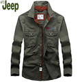 Autumn 2017 men shirt Casual young men Fashion tops Turn-down collar cotton solid color long-sleeved men shirt AFS JEEP 95
