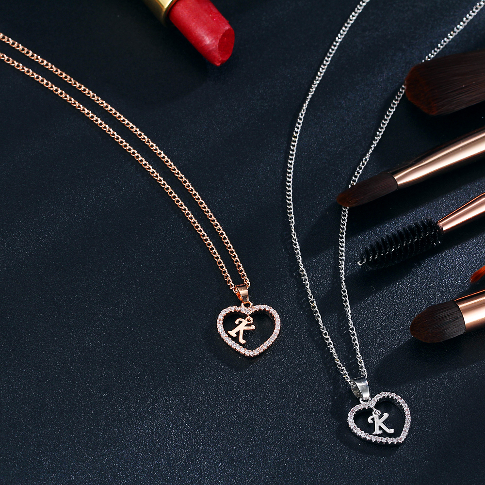 IF ME Fashion Rose Gold Silver Color Crystal Heart Letter K Necklaces  Pendant For Women Cubic Zirconia InitialWedding Jewelry-in Pendant Necklaces  from ...