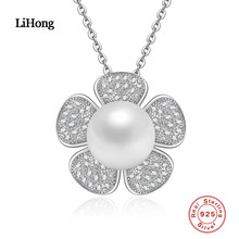 Здесь можно купить  925 Sterling Silver Necklace Pearl Natural Flower Pendants AAA Zircon For Woman Fashion Jewelry