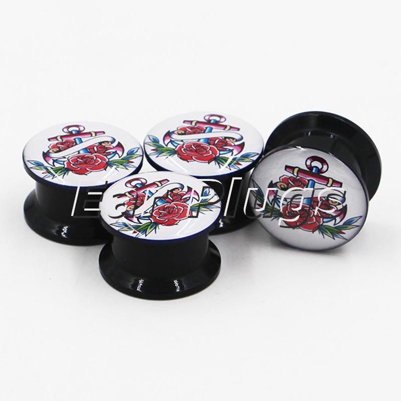 1 pair tattoo anchor plug gauges black acrylic screw fit ear plug flesh tunnel body piercing jewelry