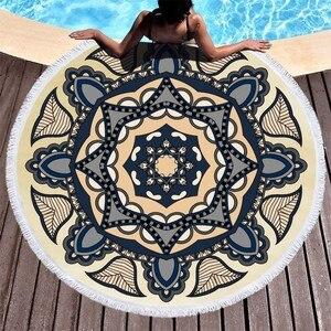 Image 3 - Пляжные полотенца с изображением цветов мандалы, пляжные полотенца с кисточками из микрофибры, круглые полотенца для ванной, летние спортивные полотенца для йоги, пикника, Toalla De Playa