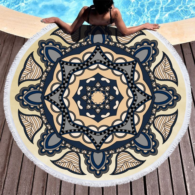 Image 3 - Mandala Flower Beach Towels Large Circle Tassel Beach Towel Microfiber Round Towel Bath Summer Sport Yoga Picnic Toalla De Playa-in Bath Towels from Home & Garden