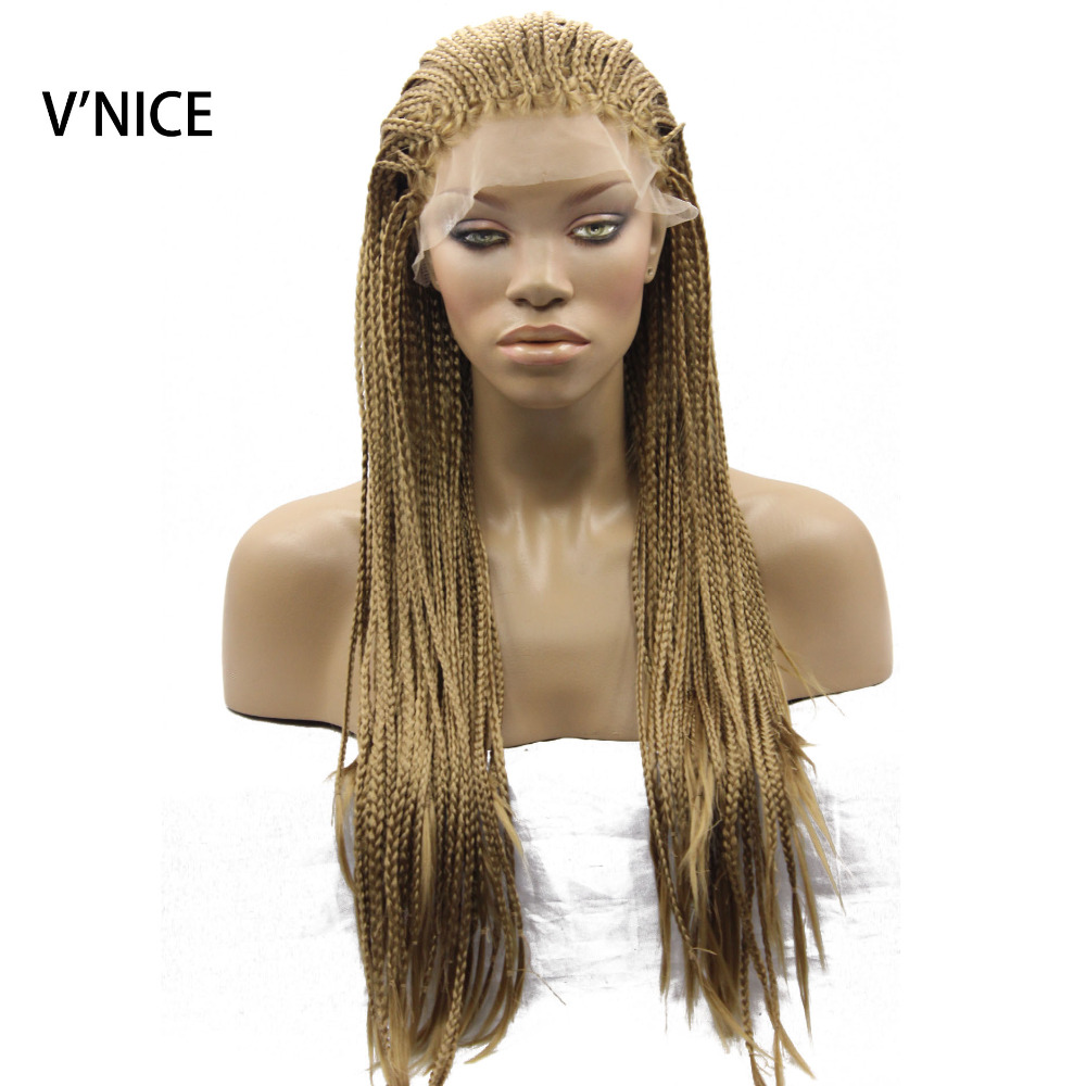 Honey Blonde Micro Braid Wig 27 Color Synthetic Lace Front Wig Heat Resistant Fiber Braided Box