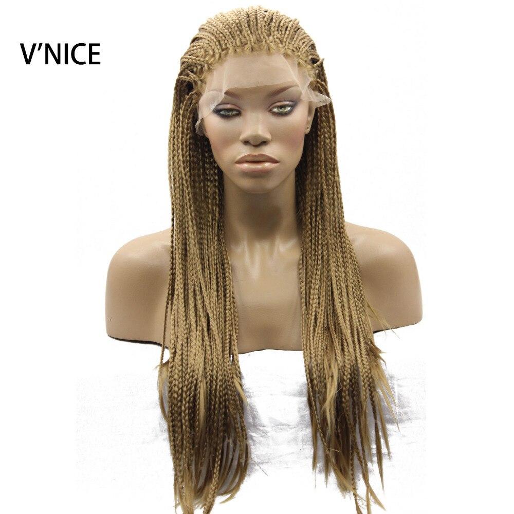 Медовый блонд, микро Плетеный парик, 27 цветов, синтетический кружевной передний парик, жаростойкое волокно, плетеная коробка, косички, парик