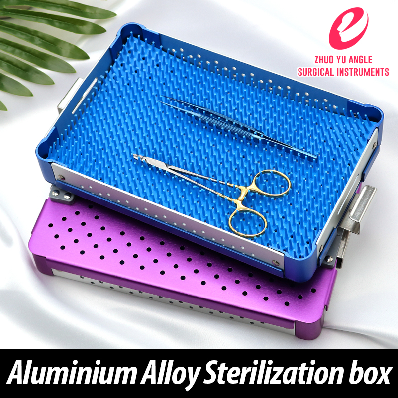 Aluminum alloy sterilization box for ophthalmic surgical microinstruments HTHP Silicone pad Disinfection of surgical instrumentsAluminum alloy sterilization box for ophthalmic surgical microinstruments HTHP Silicone pad Disinfection of surgical instruments