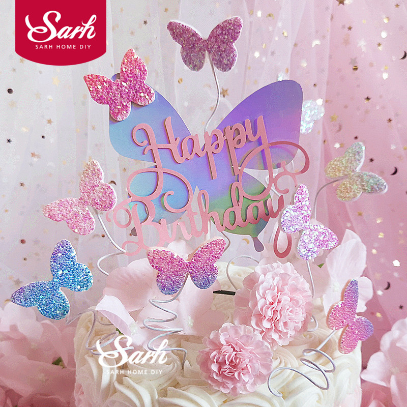 """Biling Colourful Laser Butterfly """"Happy Birthday"""" Cake Topper Wedding Bride Dessert Decoration for Birthday Party Lovely Gifts"""
