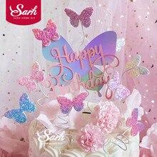 Decoración colorida de pastel de mariposa láser «Happy Birthday» para boda, novia, postre, decoración para fiesta de cumpleaños, regalos encantadores