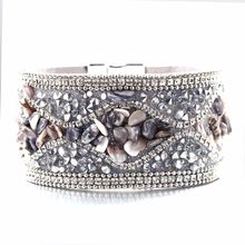 Hot Sale 2018 1pc Fashion Women Multilayer Bangle Bracelet Crystal Beaded Leather Magnetic Wristband Drop Shipping(China)