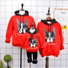 Family Matching Clothes 2018 New Year Costume Mother And Daughter Clothes Couple Christmas Sweaters Red Cartoon Dog Hoodies