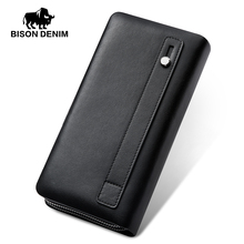 BISON DENIM Men Wallet With Coin Pocket Long Wallet Double Zipper Business Genuine Leather Clutch Bag Cowskin Purse Men N8008-2
