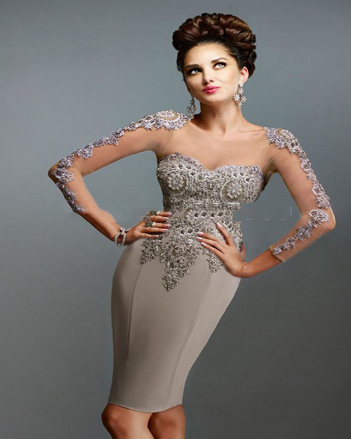 23b28090d491 Formal Scoop Fully Rhinestone Heavy Beaded Sequins Hollow Back Knee Length  Sheath Long Sleeves Cocktail Dresses Short Gowns