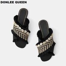DONLEE królowa kobiety kapcie czechy tkania pomponem sandały na płaskim obcasie dekoracji marki pantofel ciąg koralik slajdy 19 letnie klapki