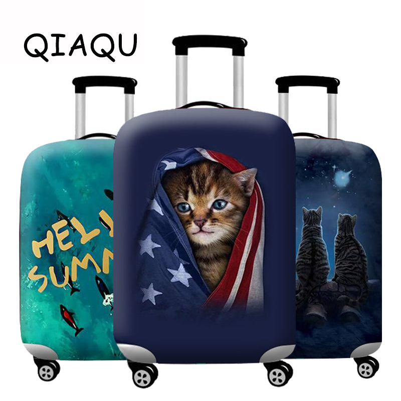 QIAQU New Suitcase Cover Thicken animal picture Travel Luggage Protective Cover Apply 18-32 Inch Accessories Cases Dust cover
