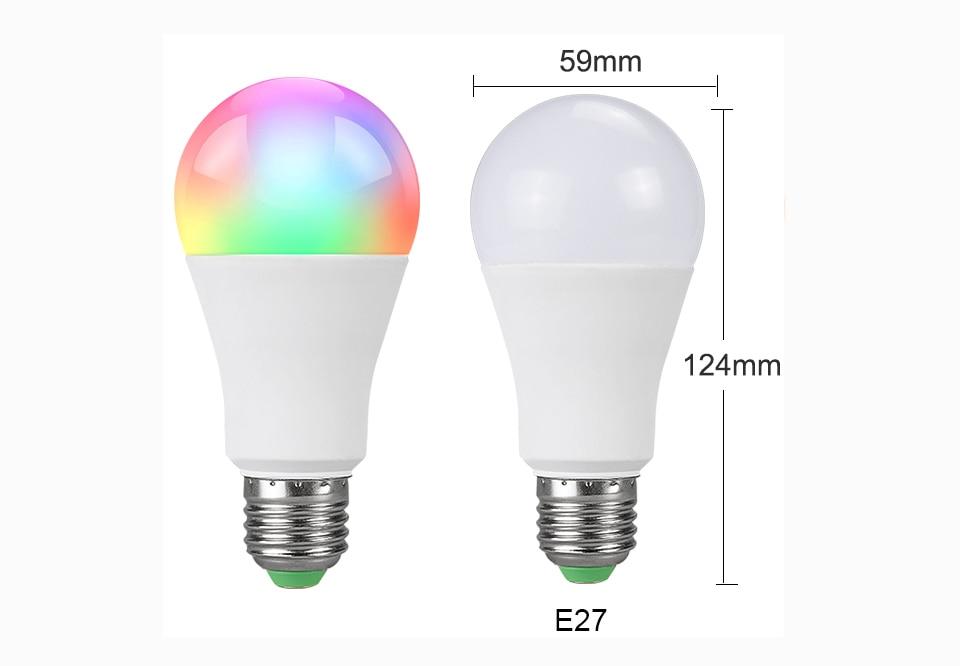 85-265V E27 LED Lamp RGB 15W Bluetooth APP Wifi Control Smart Bulb 10W RGBW RGBWW Light Bulb IR Remote Control Home Lighting (2)