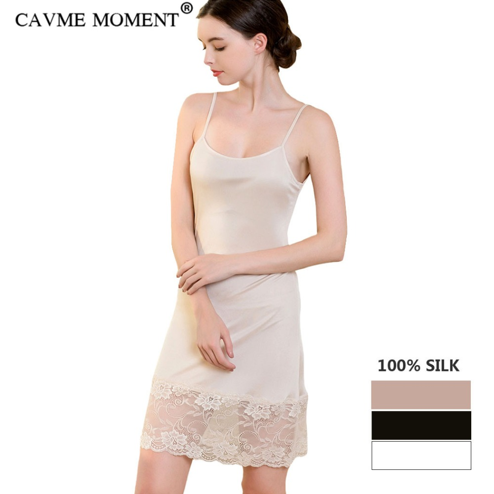 CAVME 100% Silk Sexy Lace Spaghetti Strap Nightgown Plus Size Underdress Sleepwear Homedress Solid Color Inner Petticoat