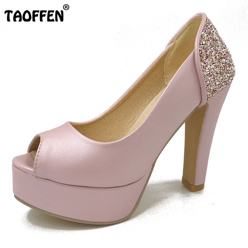 TAOFFEN women peep open toe high heel shoes stiletto candy color platform female heeled sexy pumps heels shoes size 32-43 P17939 taoffen women high heels shoes women thin heeled pumps round toe shoes women platform weeding party sexy footwear size 34 39