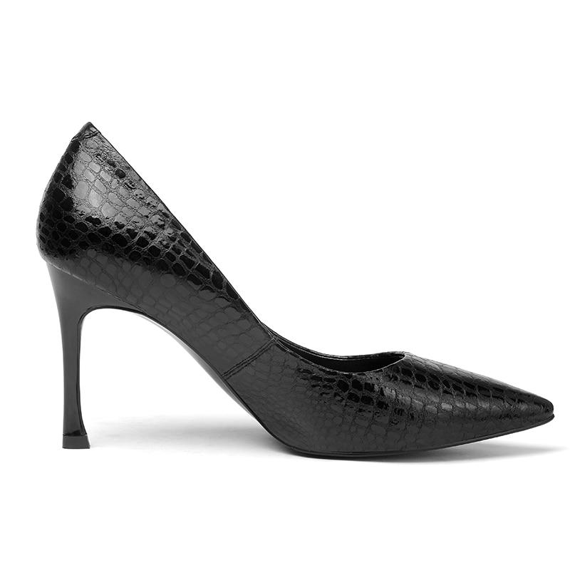 Oficina Thin Impresión De La Negro Isnom Moda Tacones 2018 Otoño gris Bombas Cuero Femeninos Vaca verde Calzado Puntiagudas Zapatos Mujeres 1dpdw4qxO
