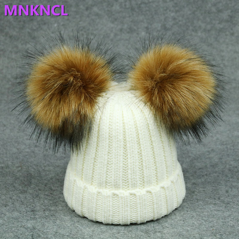 2017 New Fur Pompom Hat Women Winter Caps Knitted Wool Cotton Hats Two Pom Poms Skullies Beanies Bonnet Girls Female Cap mother and kids 2017 winter caps fur pom poms hats for women faux fur beanies wool knitted pompom hat baby boys girls skullies