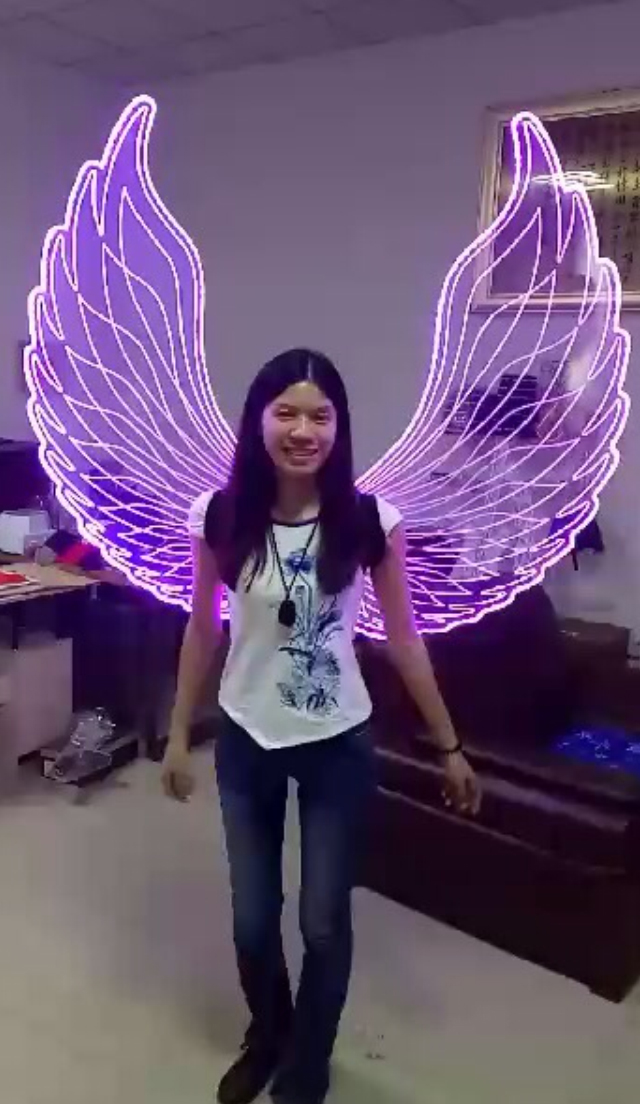 OISK Xmas Party Color Change LED Light Angel Wings Women Luminous Catwalk Show Clothing Stage Costume Glowing Wing