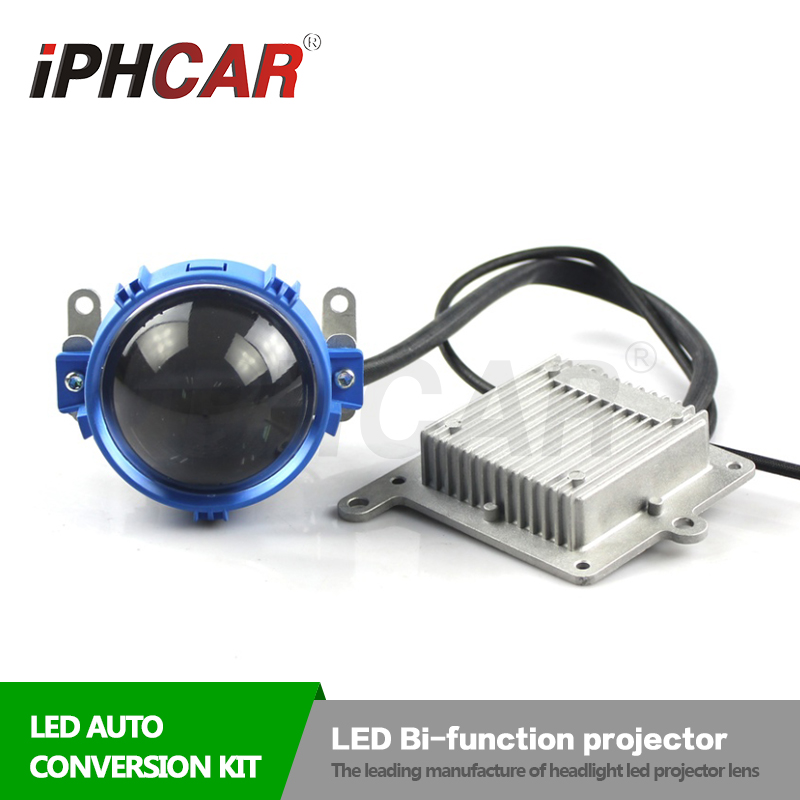 купить Free Shipping IPHCAR China Suppiler Bright LED Projector Lens with White LED Angel Halo High Low Beam Bi LED Lens Headlight недорого