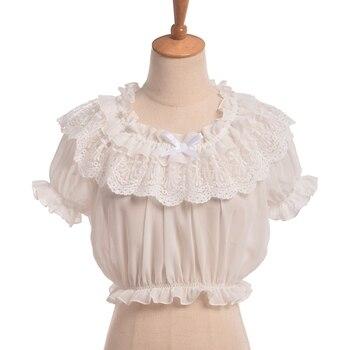 Blusa corta de mujer Lolita con volantes de chifón Blanco/negro con manga calada de encaje debajo de la camiseta