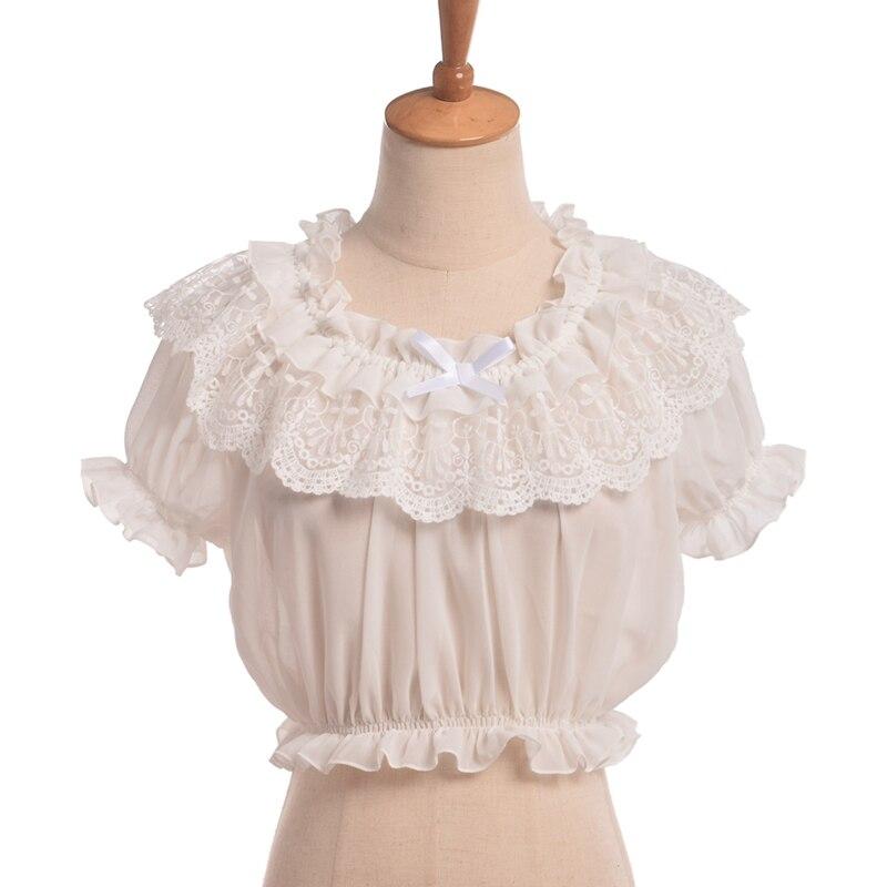 Women Lolita Frilly Chiffon Crop Top Blouse White/Black Puff Sleeve Lace Bottoming Shirt