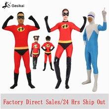 เด็กผู้ใหญ่Incrediblesชุดคอสเพลย์ครอบครัวIncredibles Spandex Jumpsuitsสำหรับฮาโลวีน