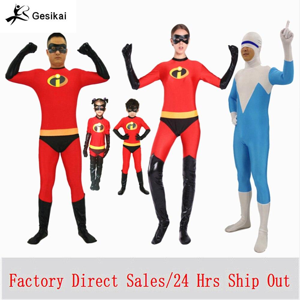 Los niños de los adultos increíbles disfraces Cosplay la familia increíbles Spandex monos Bodysuits para Halloween